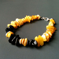 Baltic amber bracelet, butterscotch and dark cherry amber bracelet, unisex amber bracelet