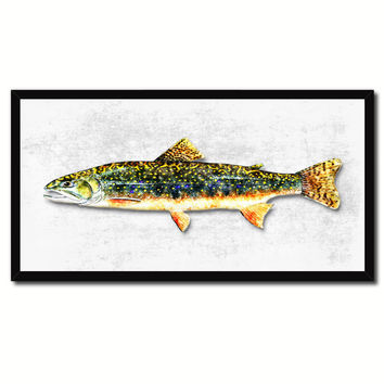 Brook Trout Fish Art White Canvas Print Picture Frames Home Decor Nautical Fisherman Gifts