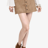 Button Front Faux Suede A-line Skirt from EXPRESS