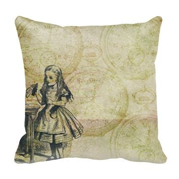 "Alice In Wonderland 20"" x 20"" Throw Pillow Case - Polyester Throw Design Pillow Cases"