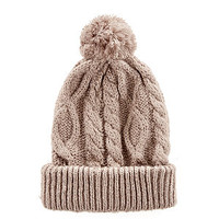 Beige Mohair Mix Cable Knit Bobble Hat