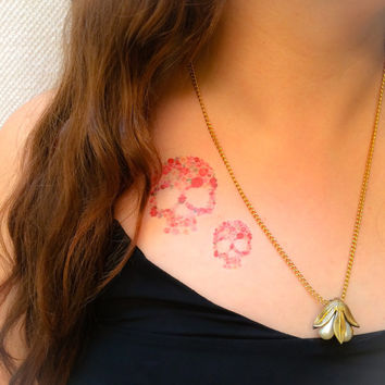 2 Floral Skull Temporary Tattoos- SmashTat