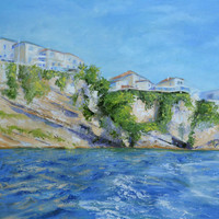 Fine art oil painting - Montenegro - Ulcinj - Oil painting on canvas - TEXTURED palette knife painting - Hand Painted Home Decor