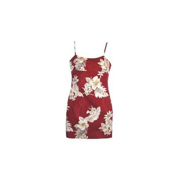 Chili Red Short Hawaiian Skinny Strap Floral Dress