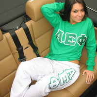 Greek Longsleeve / Sweatpants Package | Sorority clothing and apparel from SomethingGreek.com