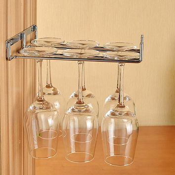 Hanging Metal Wine Cup Rack Silver/Gold Bar Single/Double Rack Wine Stemware Glass Bottle Goblet Inverted Holder KC0026