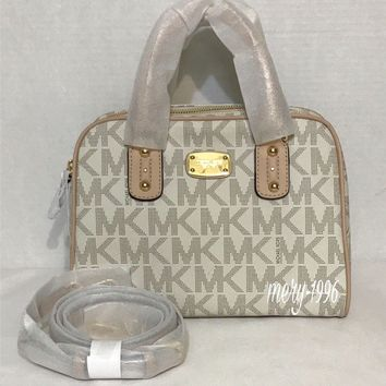 NWT Michael Kors Signature Small Satchel/Crossbody Bag Vanilla