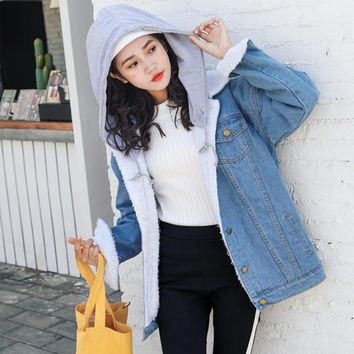 New Autumn Winter Thick Lambs Wool lining Denim Jacket Female Korean Plus size Cotton jacket chaqueta Hooded Winter Denim coat