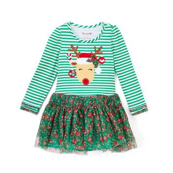 SMHONG Kids Appliques Deers Christmas Dress Baby Girl Tulle Princess Party Dress Chrismas Costume For Children Girls Clothing