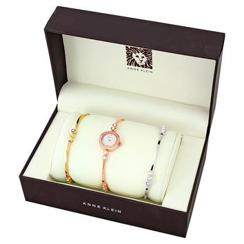 Anne Klein Swarovski Crystal-Accented Rose Gold-Tone Bangle Watch and Bracelet