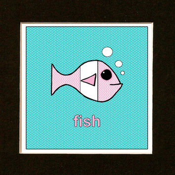 Nursery Art - Pink Chevron Fish - Beach Cottage Decor - Sea Life Print - Ocean Decor