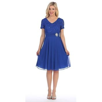 Celavie 6320 - Knee Length Royal Blue Dress With Short Sleeves Lace Bodice