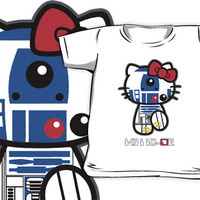 Funny Cute Retro Star wars R2D2 Hello kitty All size Kids and Baby T-shirt Clothes