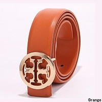 Tory Burch Trending Men Woman Popular Smooth Buckle Leather Belt Orange
