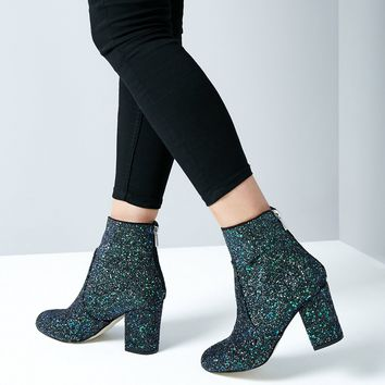 Blue Glitter Heeled Boots | New Look