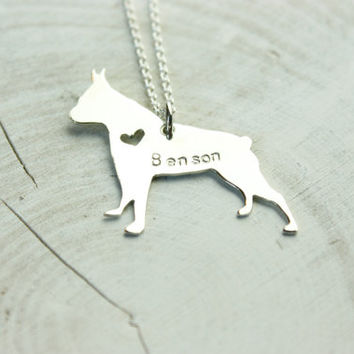 Pet silhouette necklace with heart cut out, Boston Terrier necklace, dog jewelry, Boston jewelry, hand made boston terrier necklace