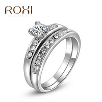 ROXI Delicate  Fashion Platinum/gold Plated Shinning Fashion Wedding set Rings Double ring