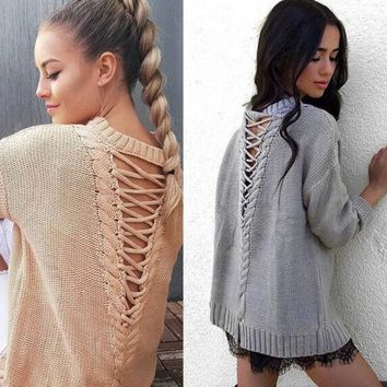 Lace Back Knit Sweater (Gray,Khaki) - Fashion Women Long Sleeve Shirt Casual Blouse knit Loose Tops Shirt Sweater