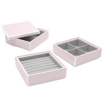Elle Lacquer Set of 3 Stacking Jewelry Boxes Soft Pink
