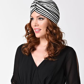 Vintage Syle Black & White Striped Knotted Turban