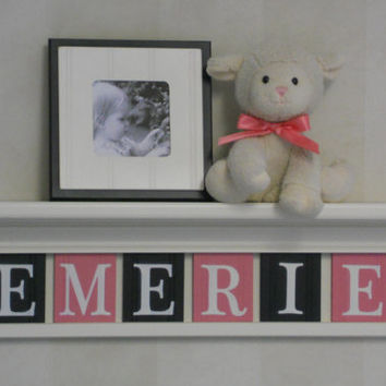 "Nursery Decor - Baby Girl Nursery Wall Art 24"" Linen White Shelf with 6 Wooden Block Letters Pink and Black for EMERIE"