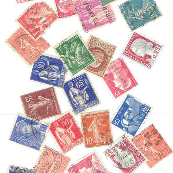 25 Vintage France French Postage Stamps Supplies Scrapbook Art Card Collage History Stationery Decoupage DIY Paper Ephemera World Travel