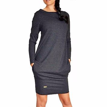 New 2017 Women Summer Autumn Sexy Casual dress Fashion elegentDress Vestidos Long Sleeve Gray Slim  XXXL Dress