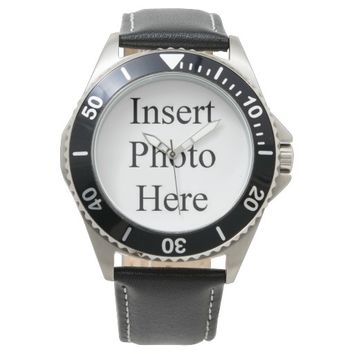 Personalized Stainless Steel Leather Strap Watch