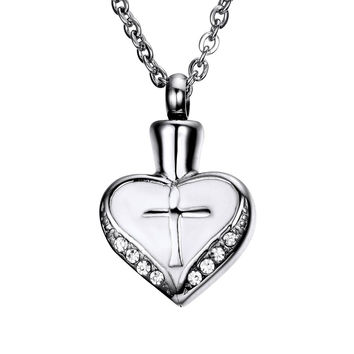 Cross Heart Cremation Urn Pendant Memorial Ash Keepsake Stainless Steel Cubic...