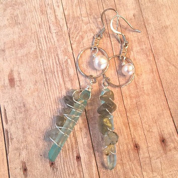 Aqua Quartz Earrings Labradorite Wire Wrapped Earrings Boho Style Gemstone Earrings Hoop Dangle Earrings Quartz Crystal Hoop Earrings (E314)