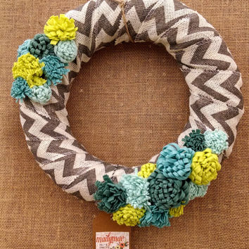 Blue and green wool felt flower wreath, grey chevron wreath, burlap wreath, large 14 inch size, ready to ship