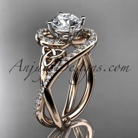 14kt rose gold diamond celtic trinity knot wedding ring, engagement ring CT7320