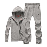 Nike Women Men Fashion Casual Hooded Cardigan Jacket Coat Pants Trousers Set Two-Piece-1
