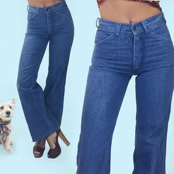 Vintage 1970's High Waisted Bellbottom Hippie Boho Jeans || Size 26-27 || Size 4