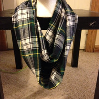 Women's Flannel Plaid-Infinity Scarf-Handmade-Scarf-Plaid Scarf-Green Bay Packers Scarf-Winter Scarf-Flannel Scarf-Green Scarf-Striped Scarf