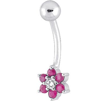 14kt White Gold .06 ct tw Diamond Ruby Flower Belly Ring