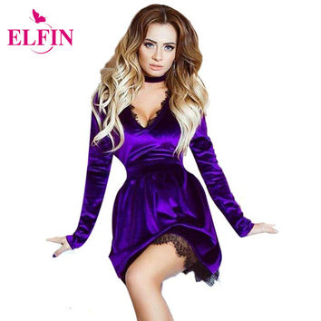 2017 Spring Women Dress Lace Velvet Dress Halter Deep V-Neck Long Sleeve Sexy Casual Velour Dress Vestidos Plus size LJ7826R