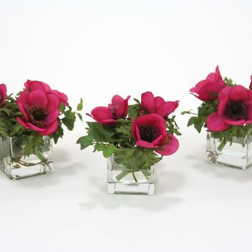 Waterlook (r) Dark Violet Anemones and Ivy In Square Glass Vase (set Of 3)