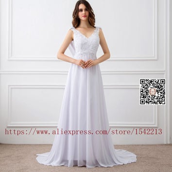 2017 Vintage Sexy Chiffon Boho Wedding Dresses For Women With Buttons Beach Bridal Gowns Robe De Marriage Dress Formal Gowns