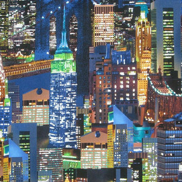 New York Skyline Print Pure Cotton Fabric from Benartex--One Yard