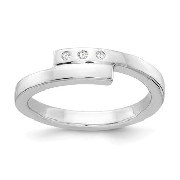 3 Stone .03 Ctw Diamond Rhodium Plated Sterling Silver Bypass Ring