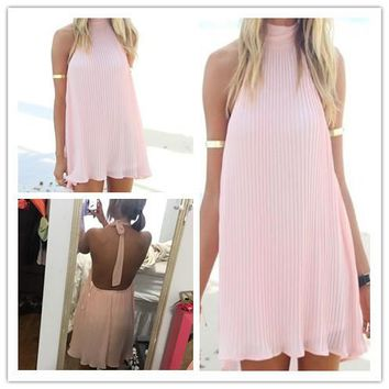 Backless Sleeveless Loose Beach Short Dress
