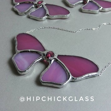 Butterfly Necklace, Pink Stained Glass Necklace w Glass Gem, Butterfly Suncatcher Necklace, Stained Glass Jewelry, 925 Silver, HipChickGlass