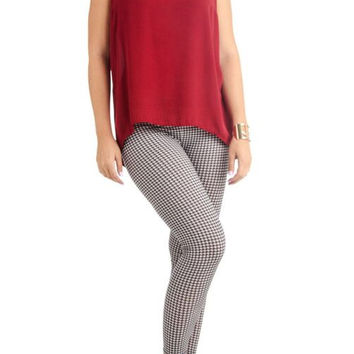 Women's Plus Size Houndstooth Print Ankle Leggings