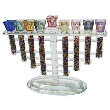 Crystal Menorah 26*22cm- Multicolored With Multicolored Stones