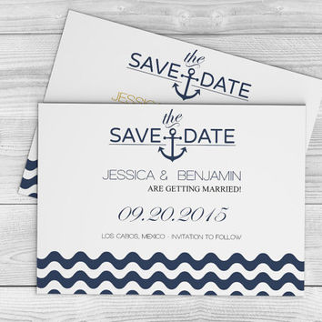 "Nautical Wedding Save the Date Template - Navy Anchor Wave Chevron Printable Save-the-Dates - 5""x7"" Editable PDF Templates- DIY You Print"