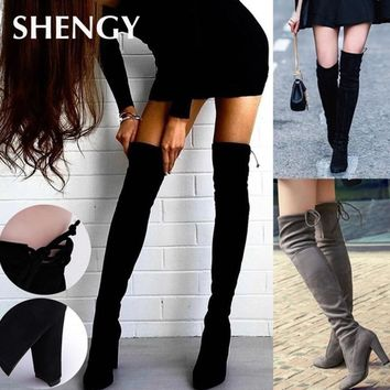 New Women Autumn Flock Leather Boots Over The Knee Boots Lace Up Thin High Heels Sexy Party Boots