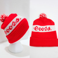 Vintage Retro Red Coors Snow Beanie Hat