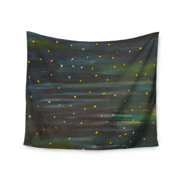 "NL Designs ""Star Fields"" Blue Green Wall Tapestry"