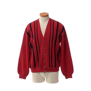 Vintage 60s Red and Black Striped Wool Cardigan Sweater 1960s Neusteters Atomic Mid Century Mod Italy Hipster Rockabilly Sweater / mens M